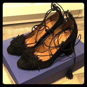 Aquazzura lace up black suede pumps Size 37